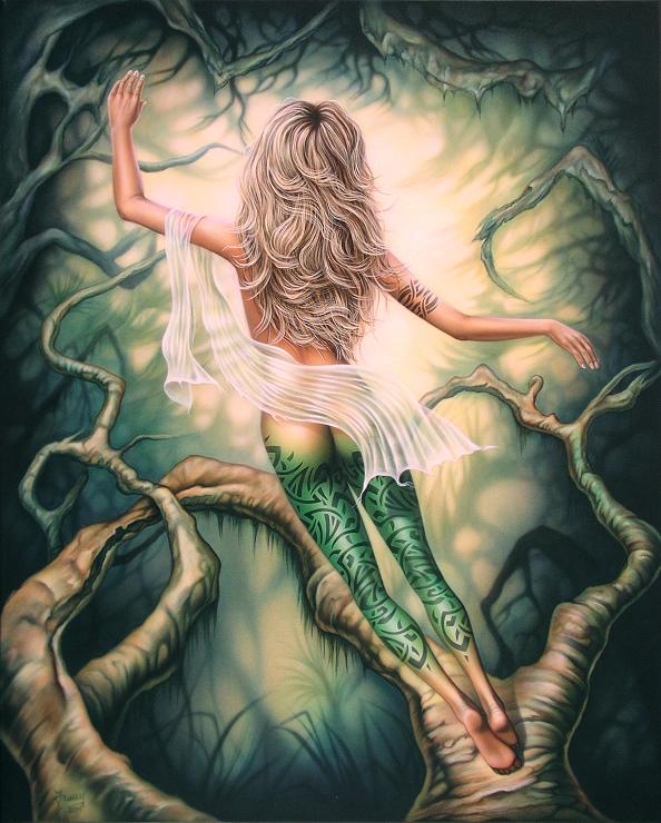 Fantasybild mit nackter Frau, Kunst, Malerei Gemälde Painting