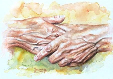 Hände, Aquarell Kunst Malerei