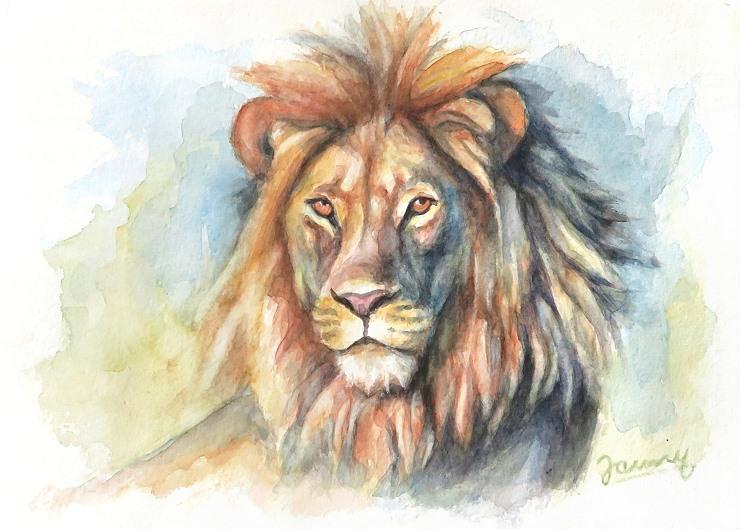 Löwe Aquarell Gemälde Painting Tiere