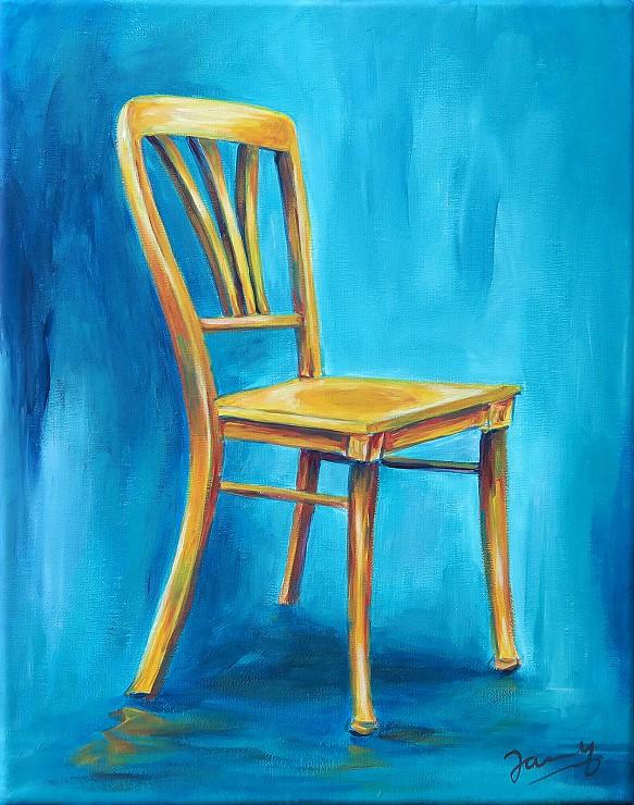 Gelber Stuhl, Moderne Kunst, Acrylbild Gemälde Painting