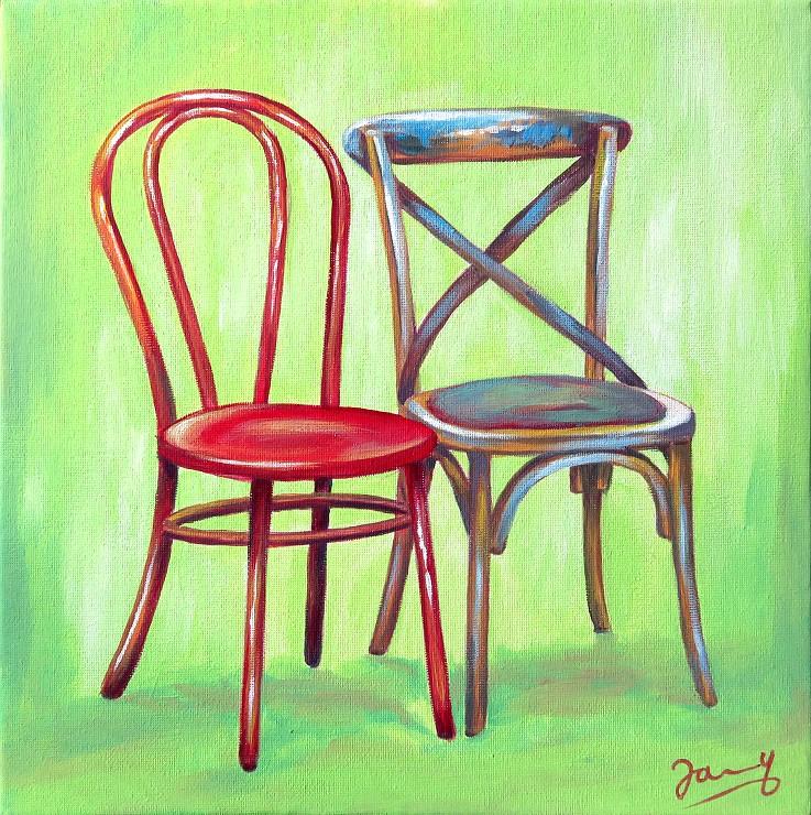 Ungleiches Paar, Moderne Kunst Malerei Gemälde Painting Leinwand Stühle