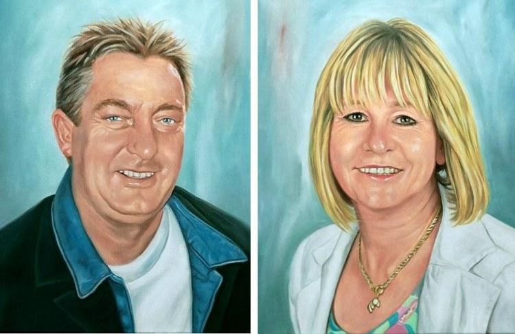 Ehepaar, Portrait vom Foto, Gemälde auf Leinwand
