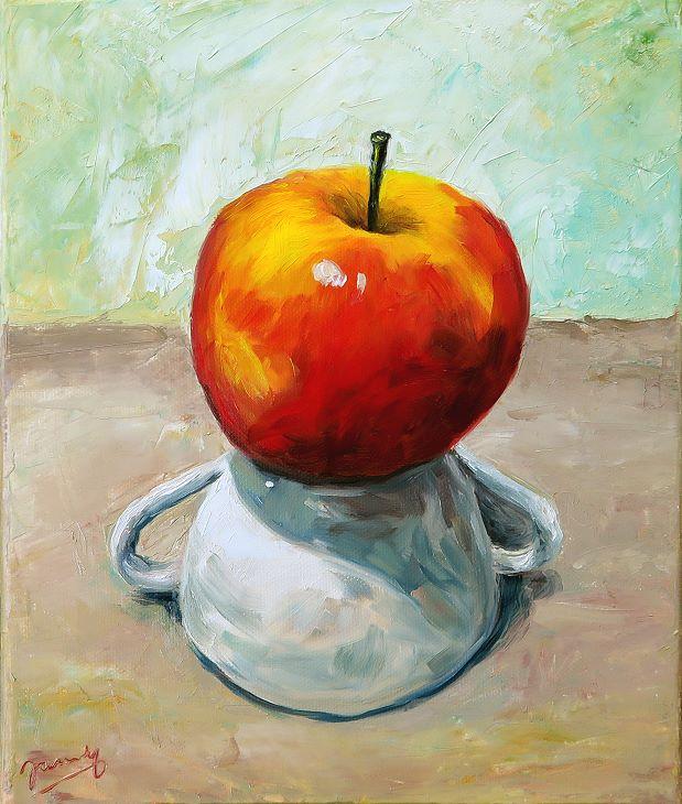 apfel auf tasse, Malerei Stillleben Gemälde Ölbild, Moderne Kunst von Janny Cierpka