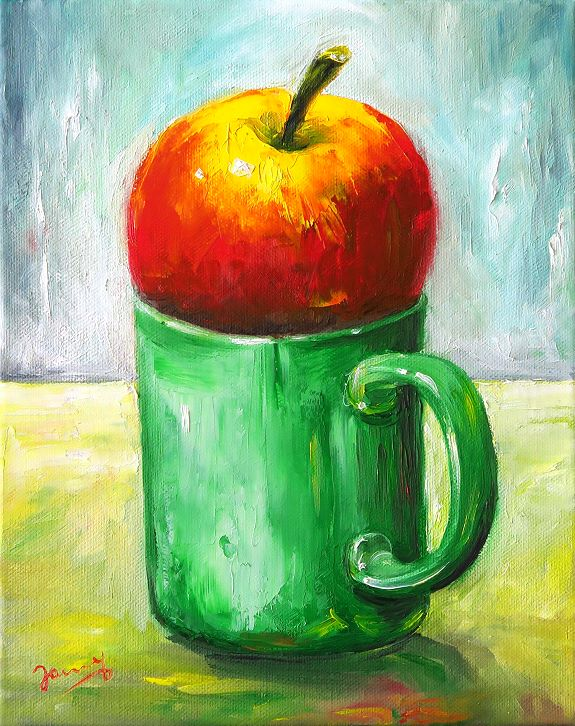 Apfel auf grüner Tasse, Stillleben Kunst Ölbild