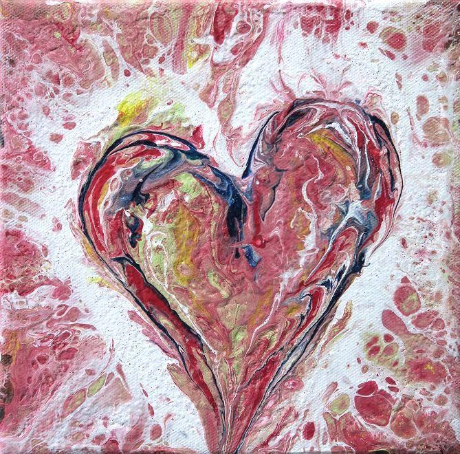 herz abstrakt fluid painting moderne kunst acrylbild malerei