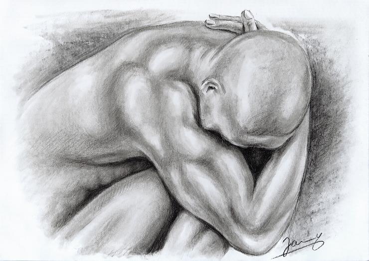 Kohlezeichnung akt mann kunst malerei zeichnung
