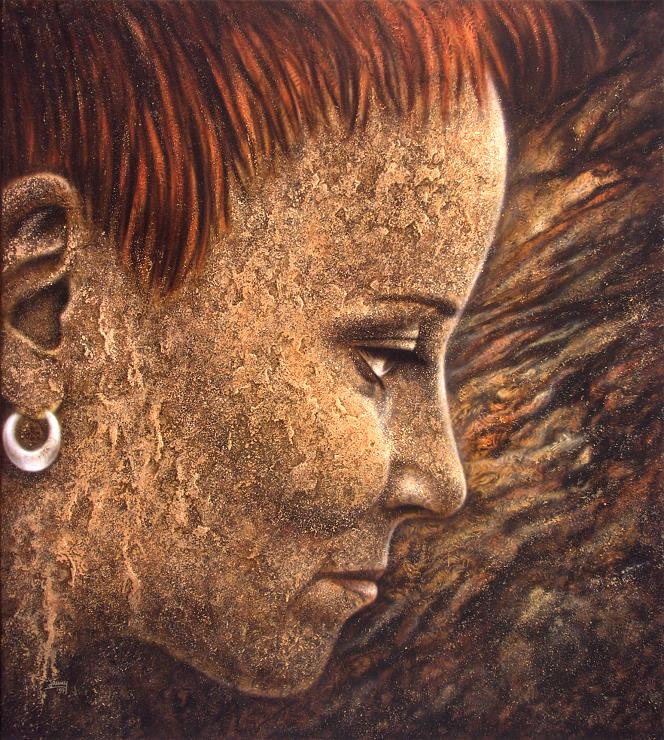 Großes Selbstportrait airbrush bild kunst malerei gemälde
