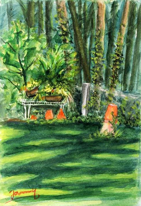 Garten Aquarell malerei kunst gemälde