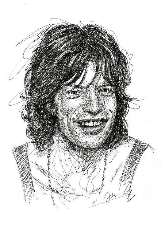 Mick Jagger Scribble Portrait Zeichnung 1970
