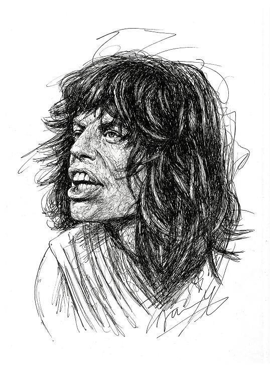 Mick Jagger 1976 Scribble Zeichnung Kunst