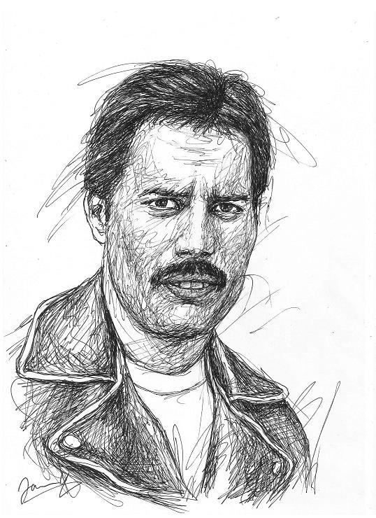 Freddie Mercury Portrait Zeichnung Kunst Queen Sänger Scribble