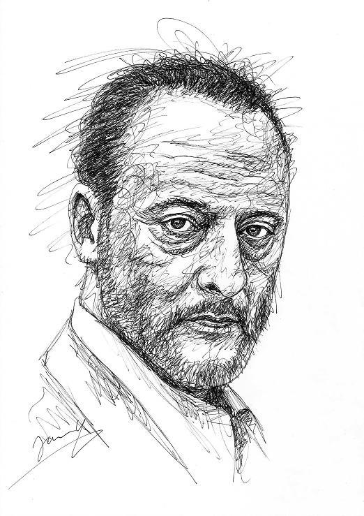 Jean Reno Scribble Portrait Zeichnung