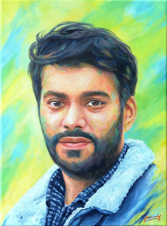 Portrait Modern Acryl Bild Junger Mann