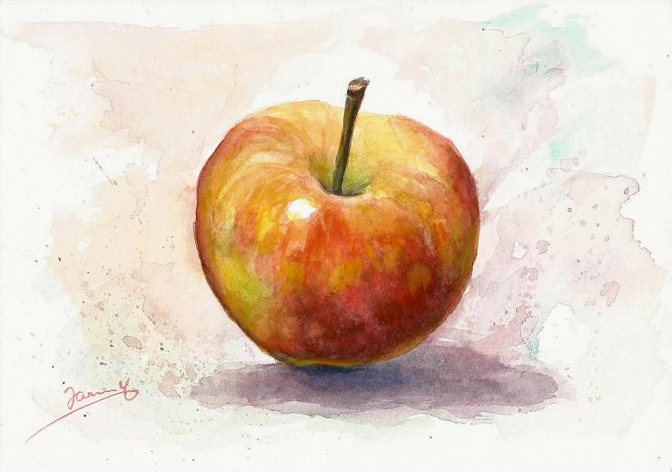Apfel Aquarell Malerei Watercolor Moderne Kunst von Janny Cierpka
