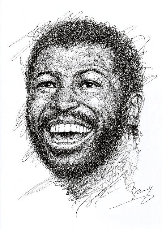 Teddy Pendergrass scribble art portrait zeichnung