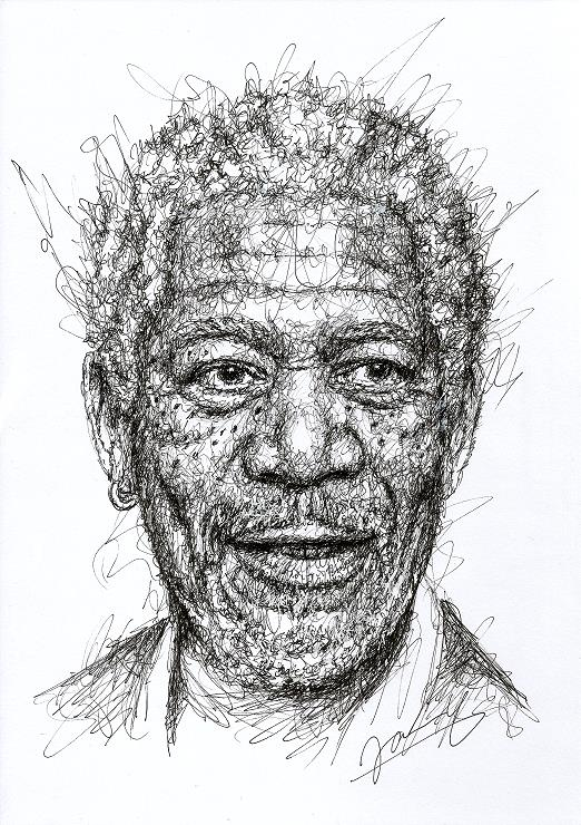 Morgan Freeman Scribble Portrait Fanart