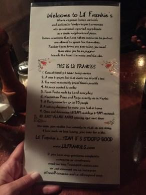 Lil Frankies NYC restaurant Italian
