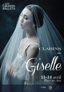 Ballet Dancer under veil in an advertisement for Les Grands Ballets