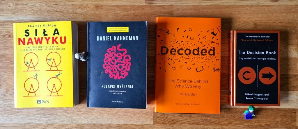 Siła Nawyku, Charles Duhigg Pułapki myślenia, Daniel Kahneman Decoded, Phil Barden The Decision Book, Mikael Krogerus & Roman Tschäppeler