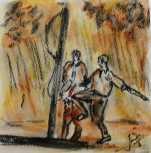 Swing Soccer Charcoal and Acrylic on Paper