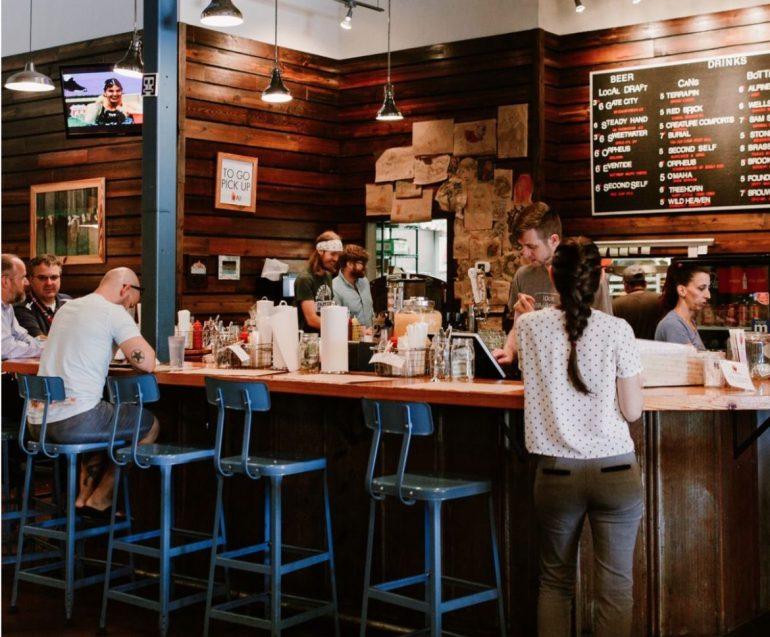 The counter at Farmburger in Atlanta