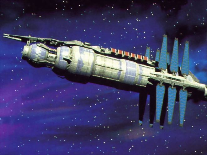 Babylon 5--but where are the windows? And are those solar panels, or heat exchangers?