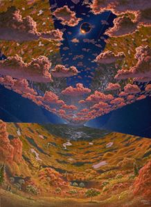 NASA artist Don Davis gave us a vision of how it might look inside an O'Neill cylinder with reflected sunlight.