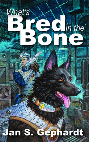 The image shows the cover of Jan S. Gephardt's novel, What's Bred in the Bone, which shows the protagonist, Rex--a sapient police dog--with his temporary partner, Lead Special Agent Shiva Shimon, in the notorious Orangeboro neighborhood called the Five-Ten. Rex and Shimon both wear personal body armor. Shimon has a helmet wiht a visor. Rex is a large, black dog who looks like a super-sized wolf with a vocalizer on his collar.