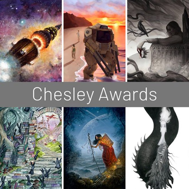 This montage from Changeling Artist Collective shows details from nominated artworks by Collective members. They are (clockwise from upper left): Melissa Gay (paperback/epub nominee); Amanda Makepeace (paperback/epub category winner); Nataša Ilinčić (paperback/epub nominee); Emily Hare (unpublished monochrome nominee); Melissa Gay (unpublished color category winner); and Collective founder Rachel Quinlan (product illustration nominee).