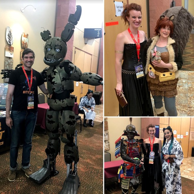 This shows a montage of amazing costumes people wore to SpikeCon. There's a man-sized rabbit marionette-looking thing; a woman dressed as a squirrel, and a samurai warrior with his female companion in her kimono.