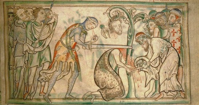 The Martyrdom of St. Alban, from a 13th-Century manuscript now at Trinity College Dublin, was inscribed and illustrated by Matthew Paris.