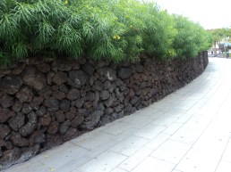 wall made of volcanic rock