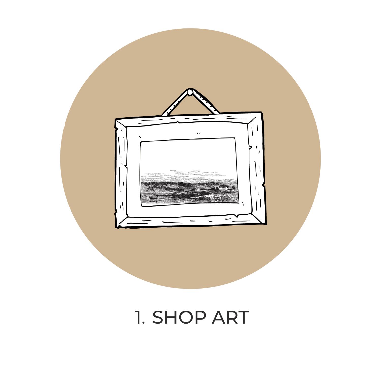 online fine art gallery shop icon