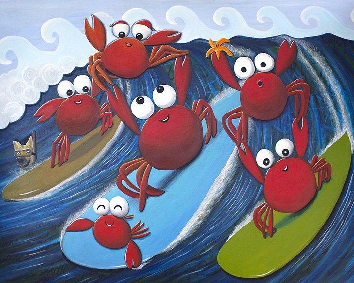 crab ohana day art print by Jan Tetsutani