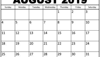 Free August 2019 Printable Calendar Word PDF With Holidays