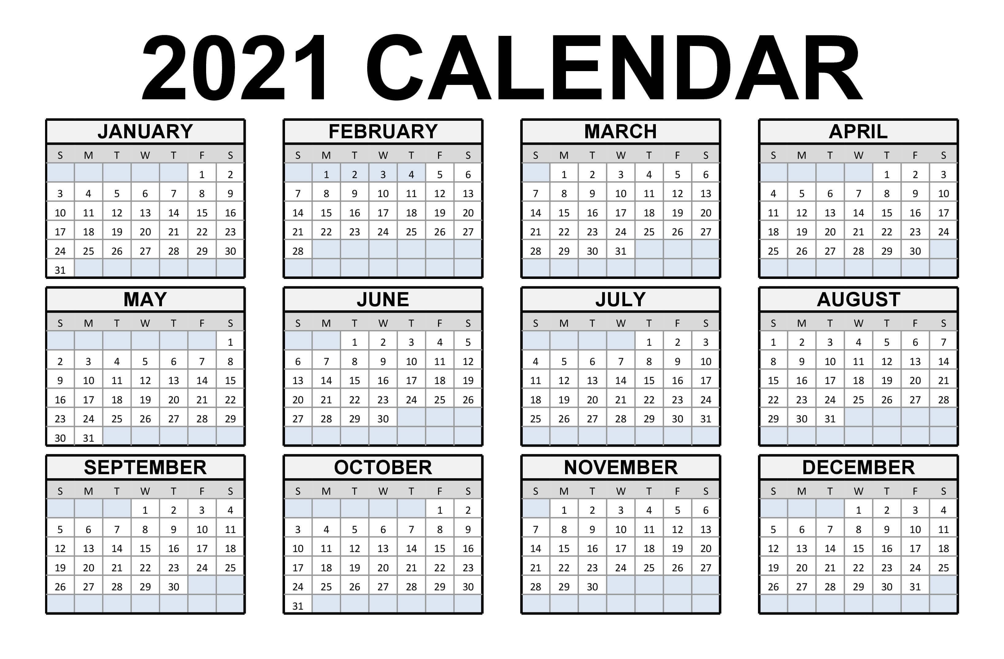 Free printable calendar 2021 template are available here in blank & editable format. Free Printable Calendar 2021 in PDF Word Excel Template