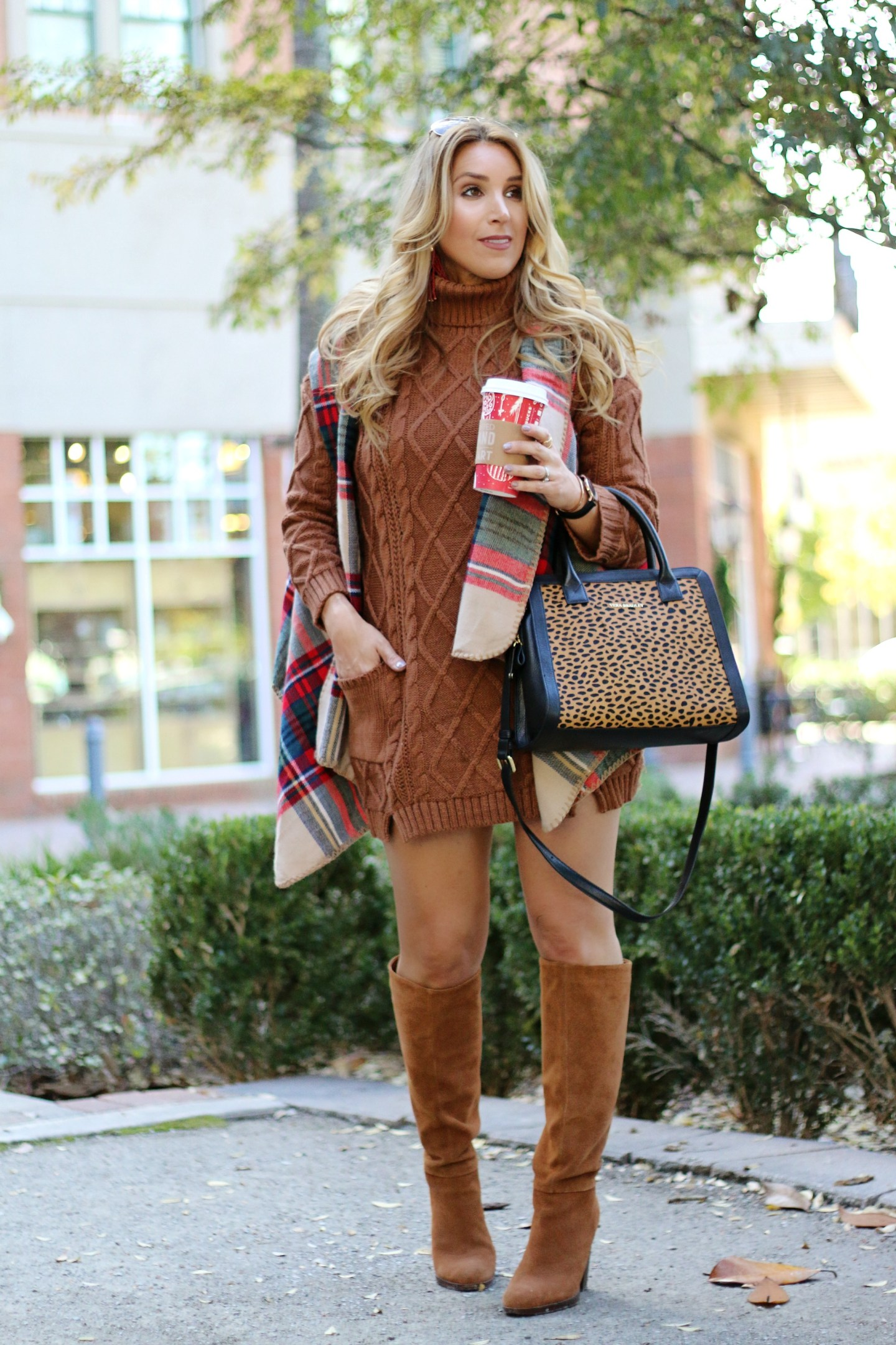 sweater dress and boots | January Hart Blog