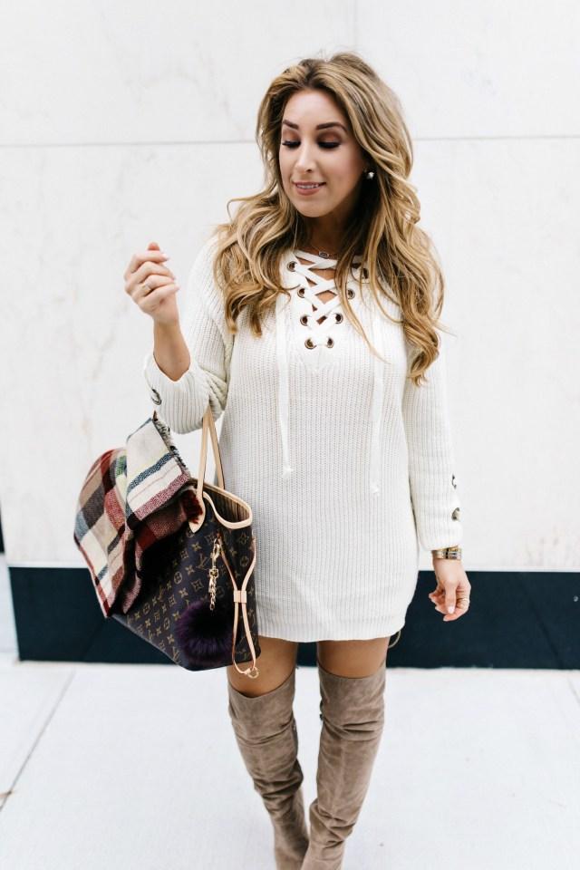 Lace Up Chunky Sweater | January Hart Blog