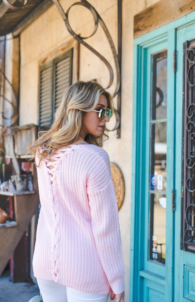 pink lace up sweater long sleeve