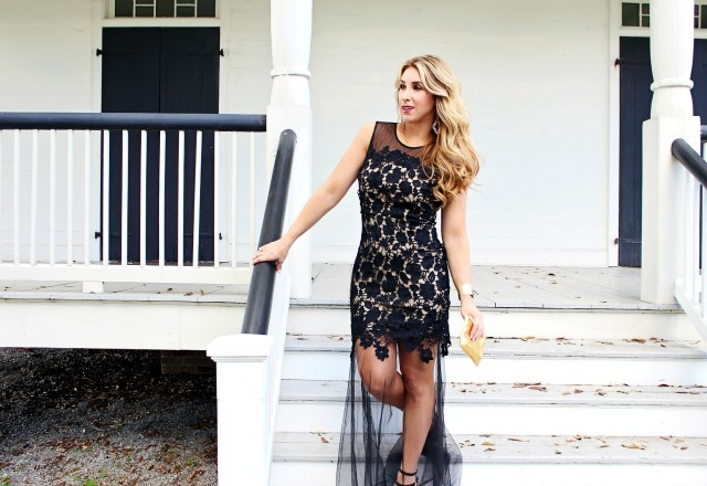Black Lace Dress Long