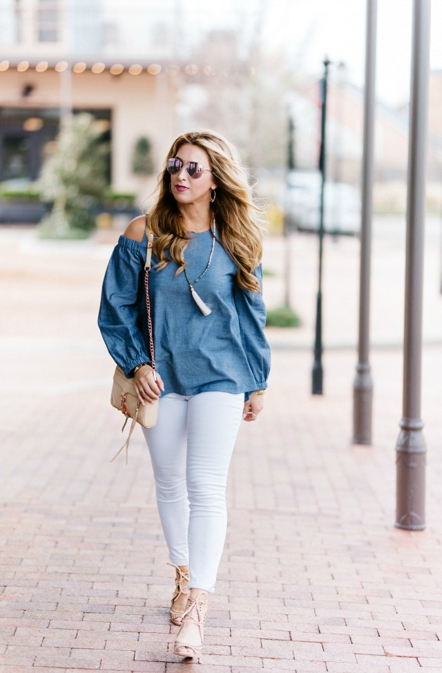 Chambray long sleeve cold shoulder top