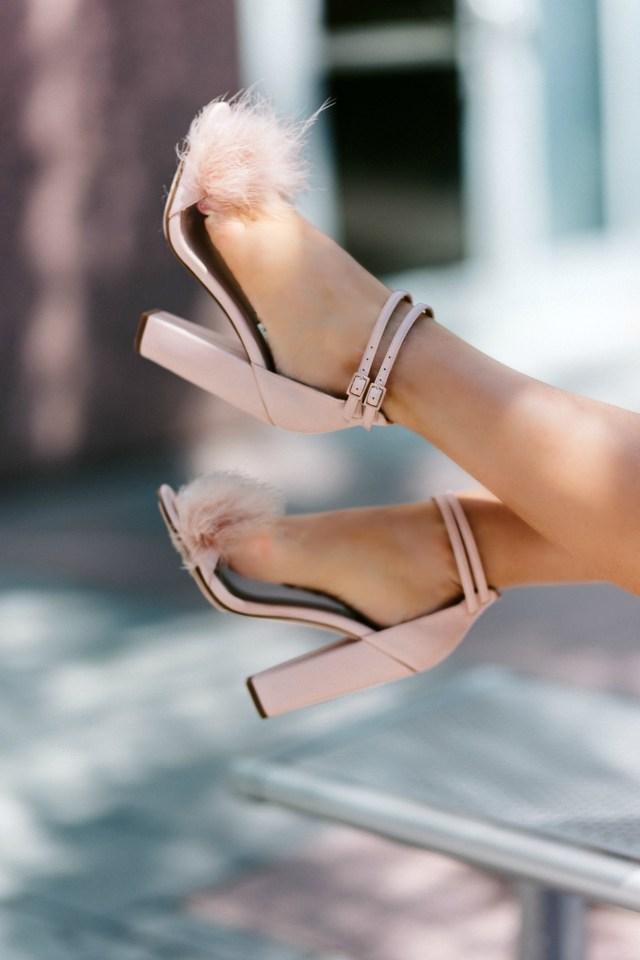 Blush sandal heels