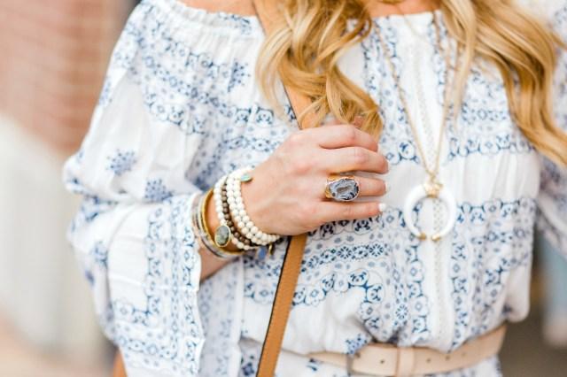 crescent necklace white