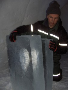 Back and front of head in ice, Laino Snow Village, Finland, 2007
