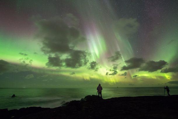Uitzonderlijk mooie show van het noorderlicht (Aurora Borealis) op IJsland, 9 november (bron: Christophe Suarez).