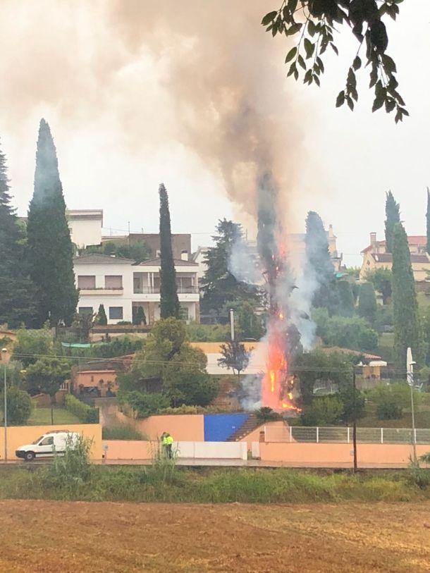 Bliksem treft boom in Banyoles, Catalunya, 16 juli 2018 (bron: @quimcamps).