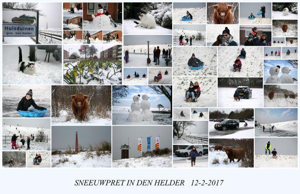Prachtige fotocollage van de sneeuwpret in Den Helder, 12 februari (bron: Ilse Kootkar).