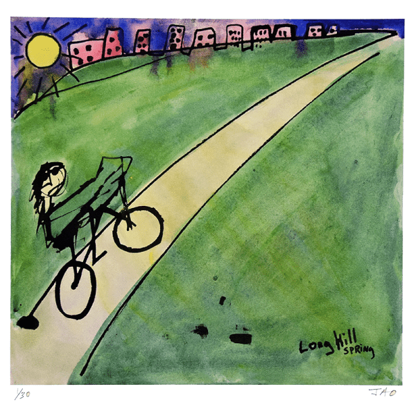 stick figure with sun glasses on bike riding up a long hill on road surrounded by green grass with the sun and the city in the distance by JAO