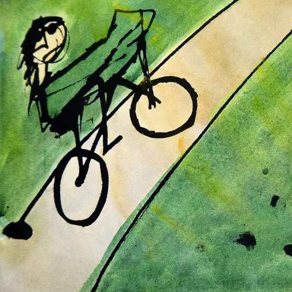 stick figure with sun glasses on bike riding up a long hill on road surrounded by green grass with the sun and the city in the distance, detail