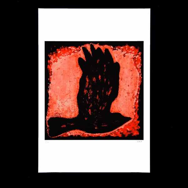 JAO Art Print Black Bird on Red